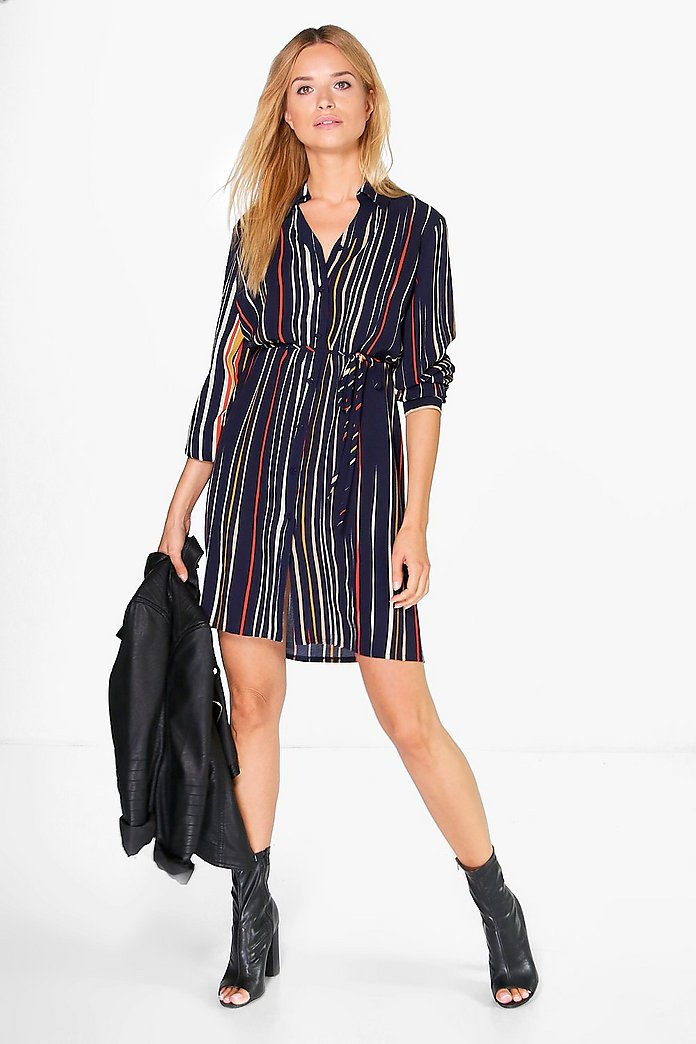 Sally Stripe Shirt Dress