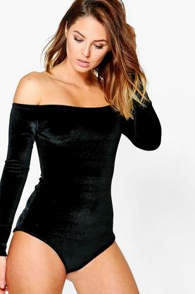 Holly Velvet Bardot Long Sleeve Bodysuit