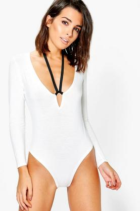 Edith Long Sleeve Contrast Harness Bodysuit