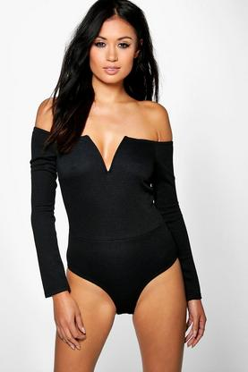 Cora Long Sleeve V Front Plunge Body
