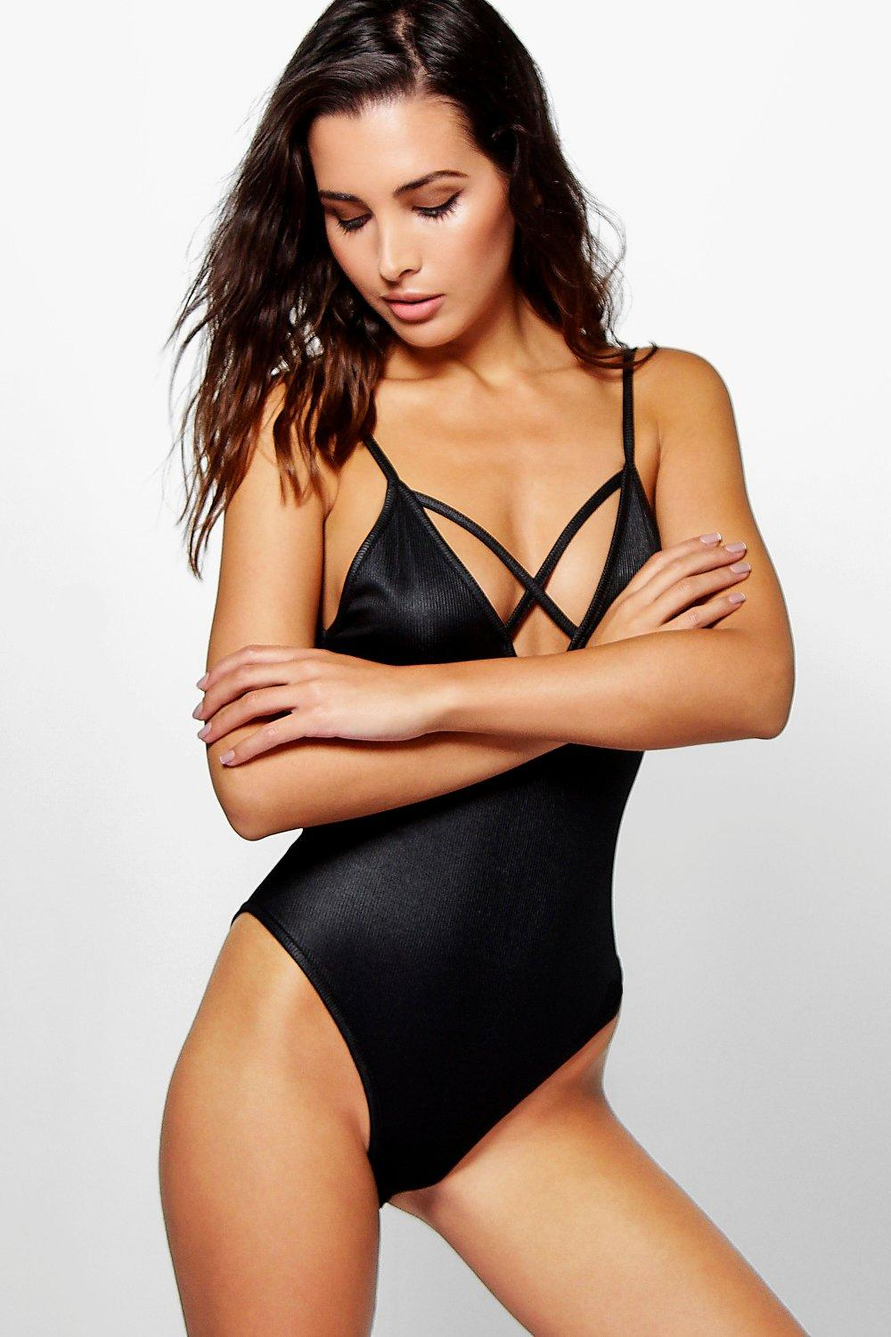 Annabel Strappy Rib Plunge Body