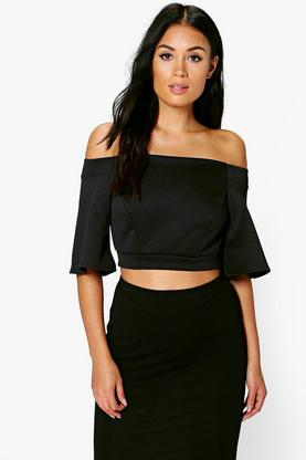 Megan Off The Shoulder Wide Sleeve Crop