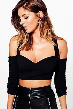 Martha Textured Long Sleeve Cold Shoulder Crop