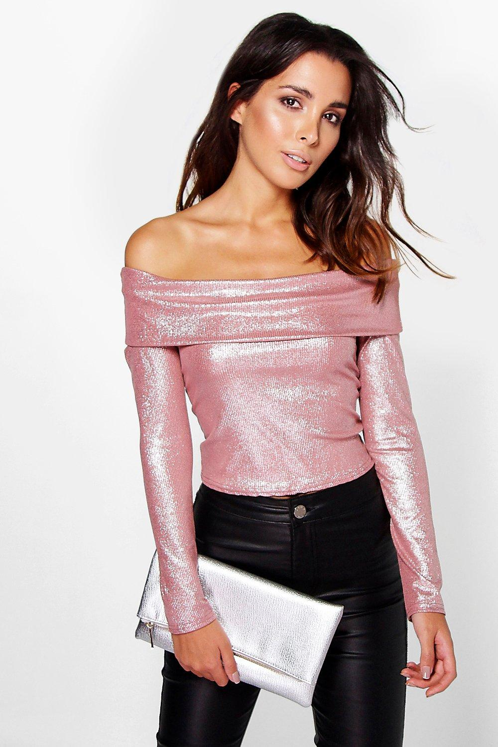 Heidi Metallic Off The Shoulder Long Sleeve Top
