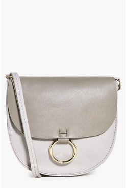 Mya Round Detail Cross Body Saddle Bag