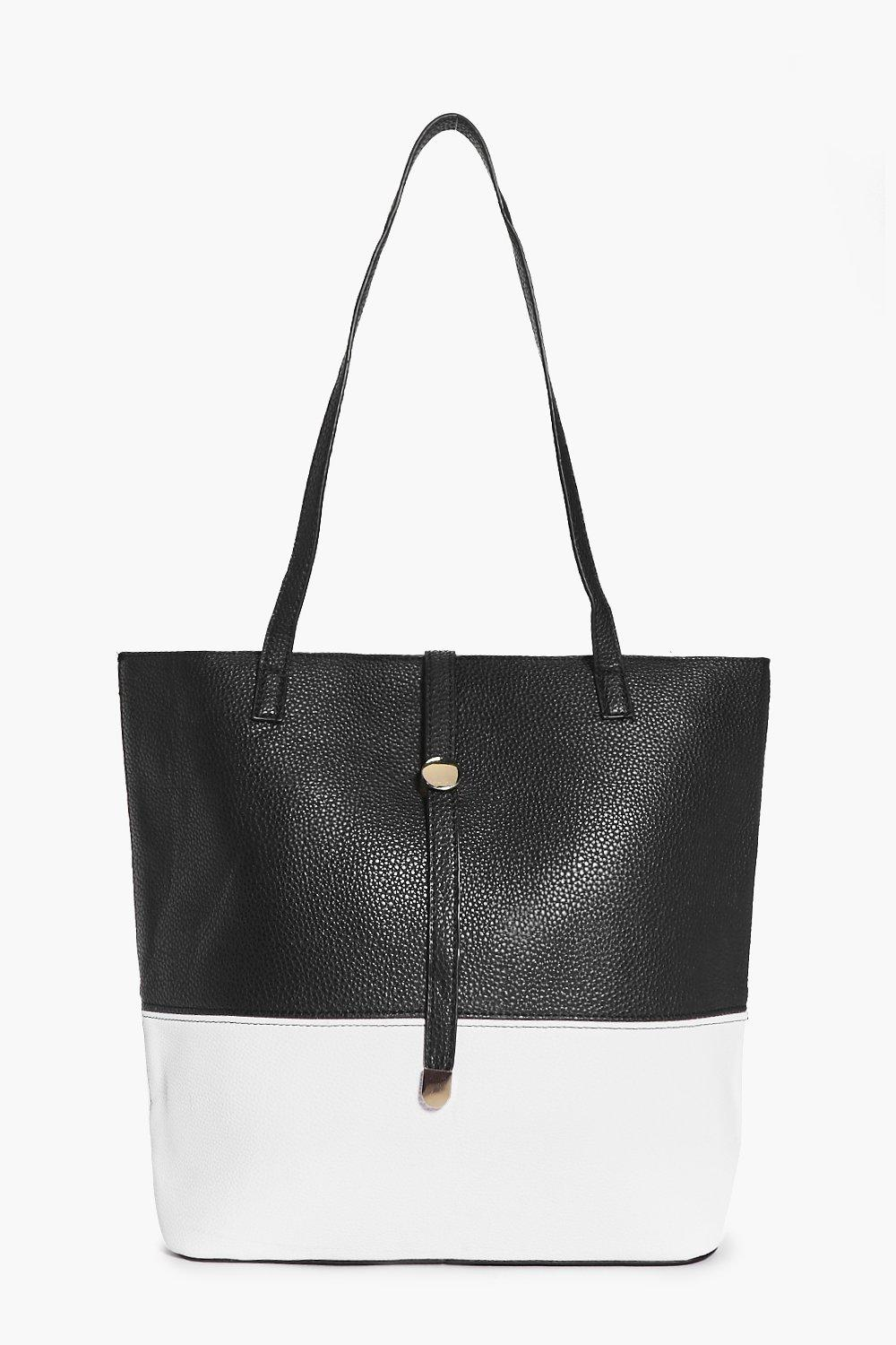 Evie Monochrome Metal Detail Shopper