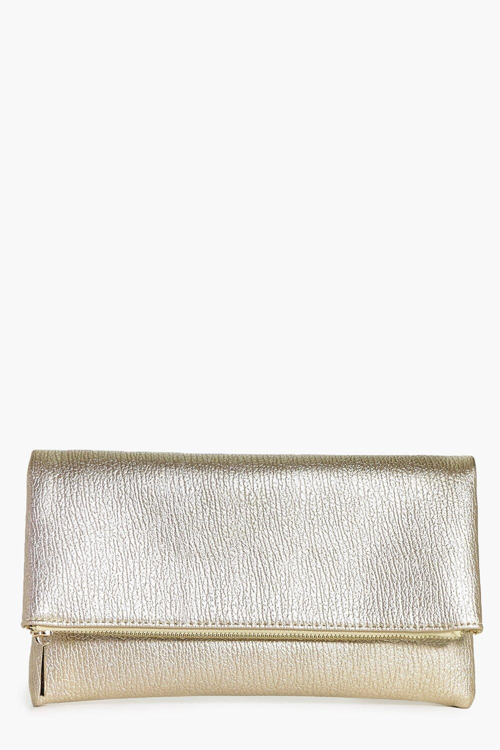 Anna Metallic Fold Over Clutch Bag