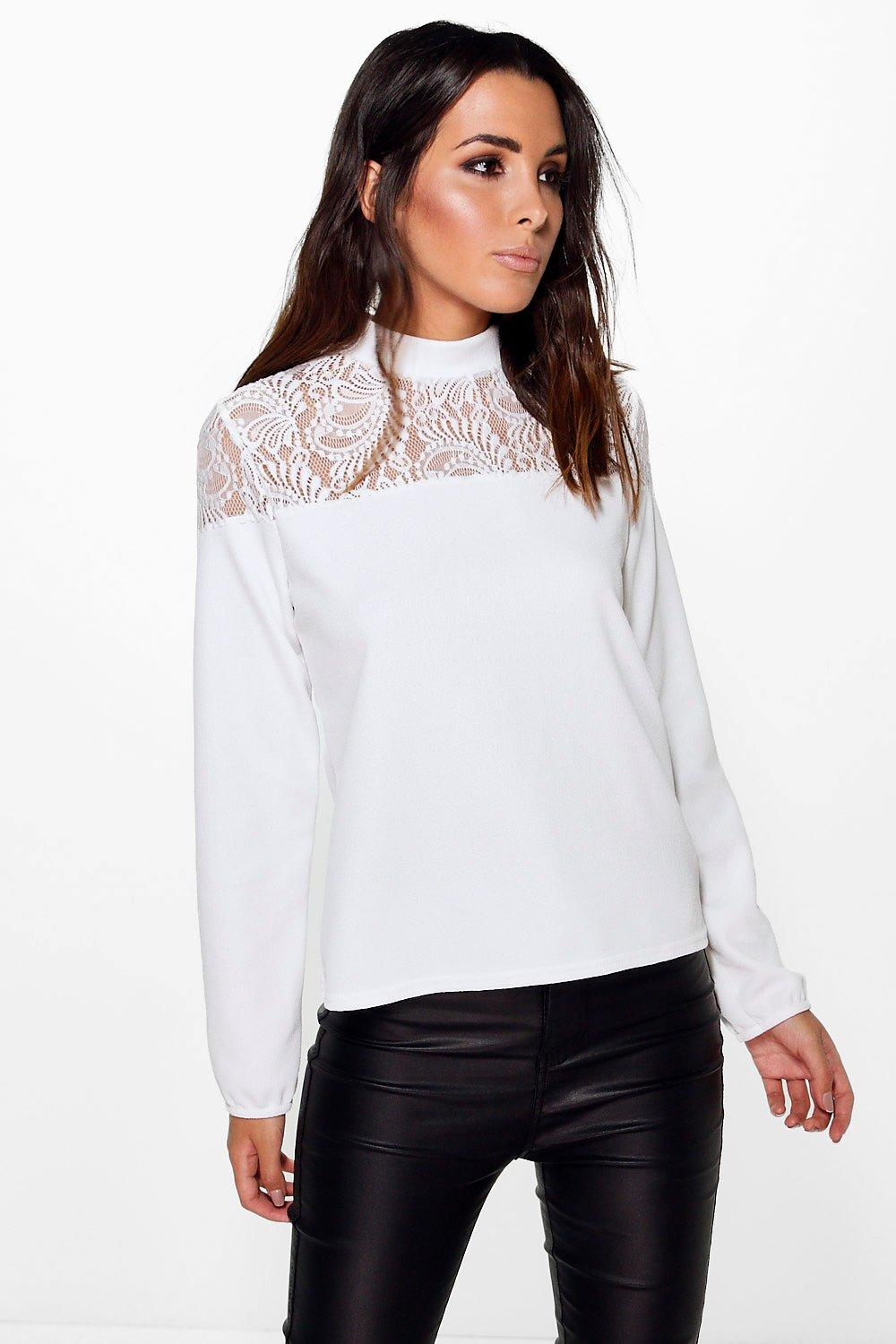 Stella Lace Insert Long Sleeve Top