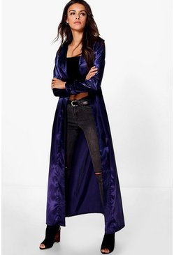 Olivia Shawl Collar Belted Silky Duster