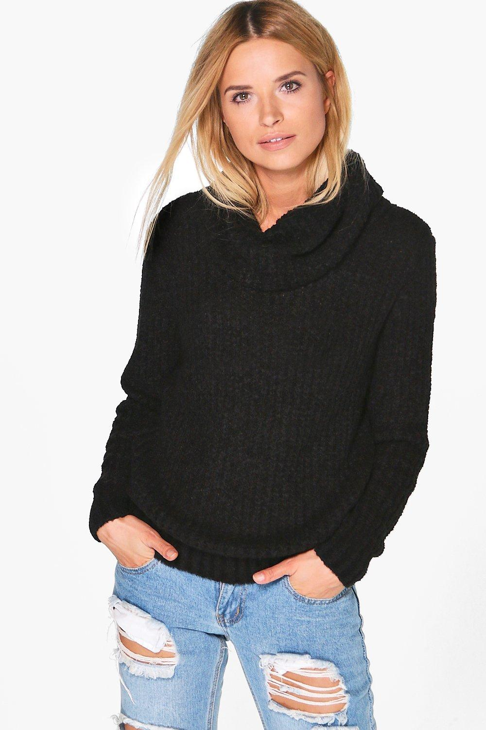 Faith Boucle Crop Cowl Neck Jumper