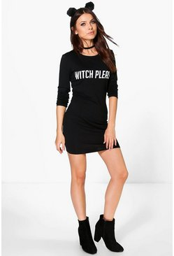Lisa Halloween Witch Please Bodycon Dress