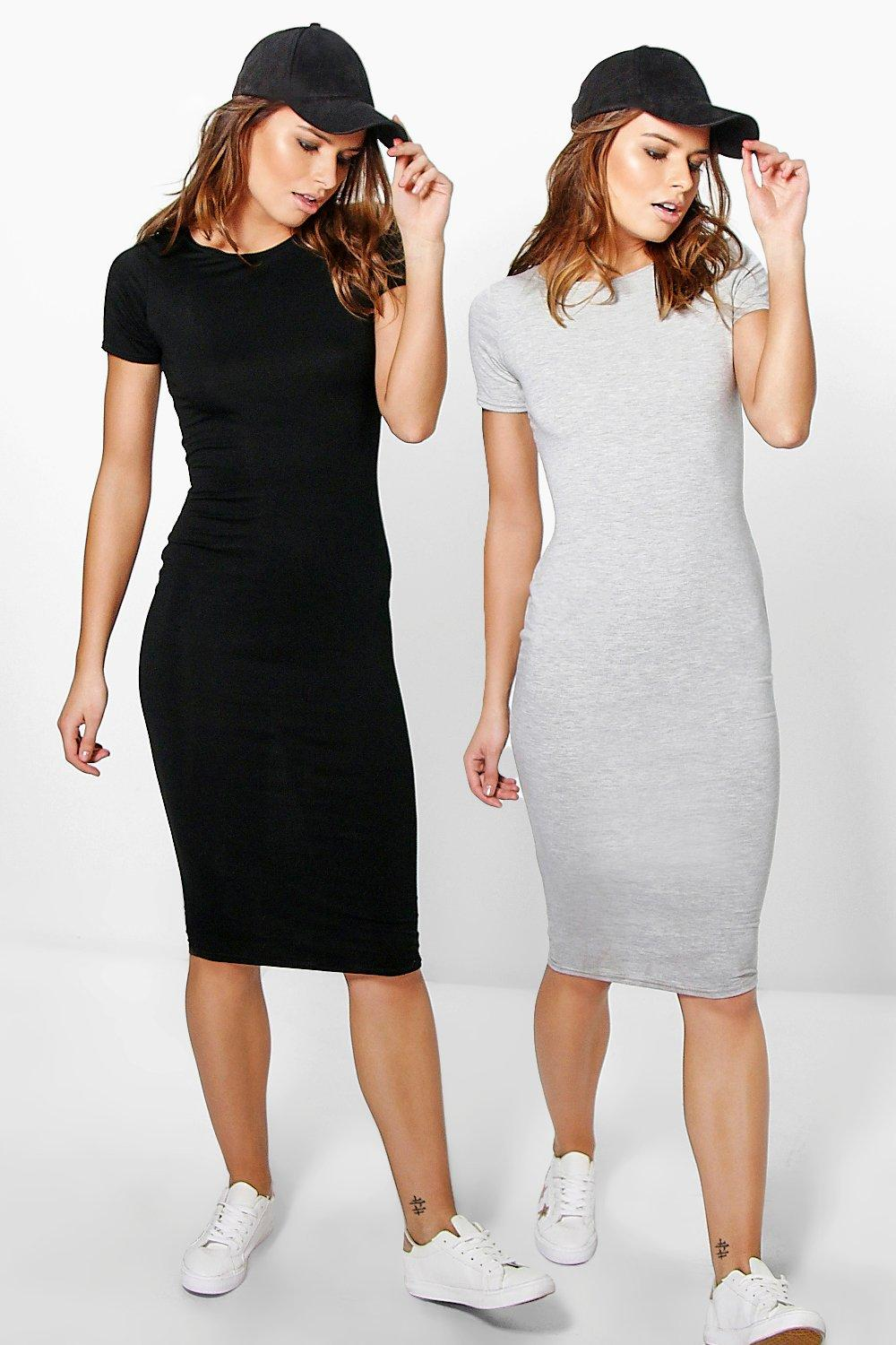 2 Pack Midi Bodycon Dress
