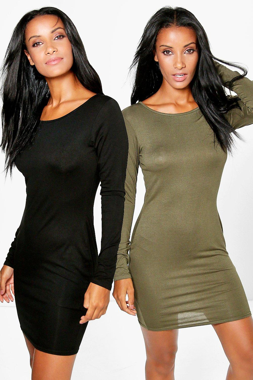 Sally 2 Pack Long Sleeve Bodycon Dress