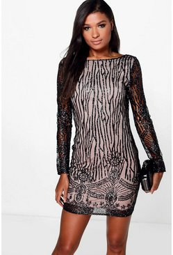 Boutique Faye Sequin Print Bodycon Dress