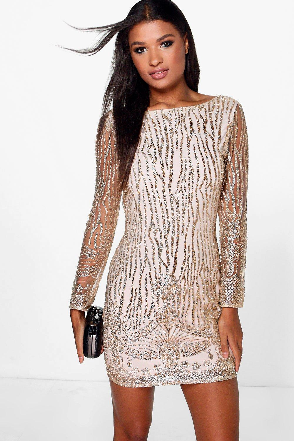 Boutique Faye Sequin Print Bodycon Dress at boohoo.com