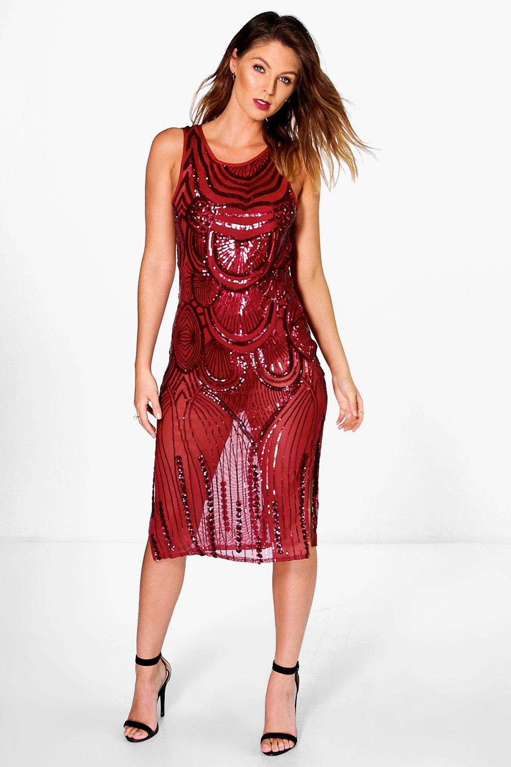 Boutique Ali Sequin Midi Dress with Bodysuit