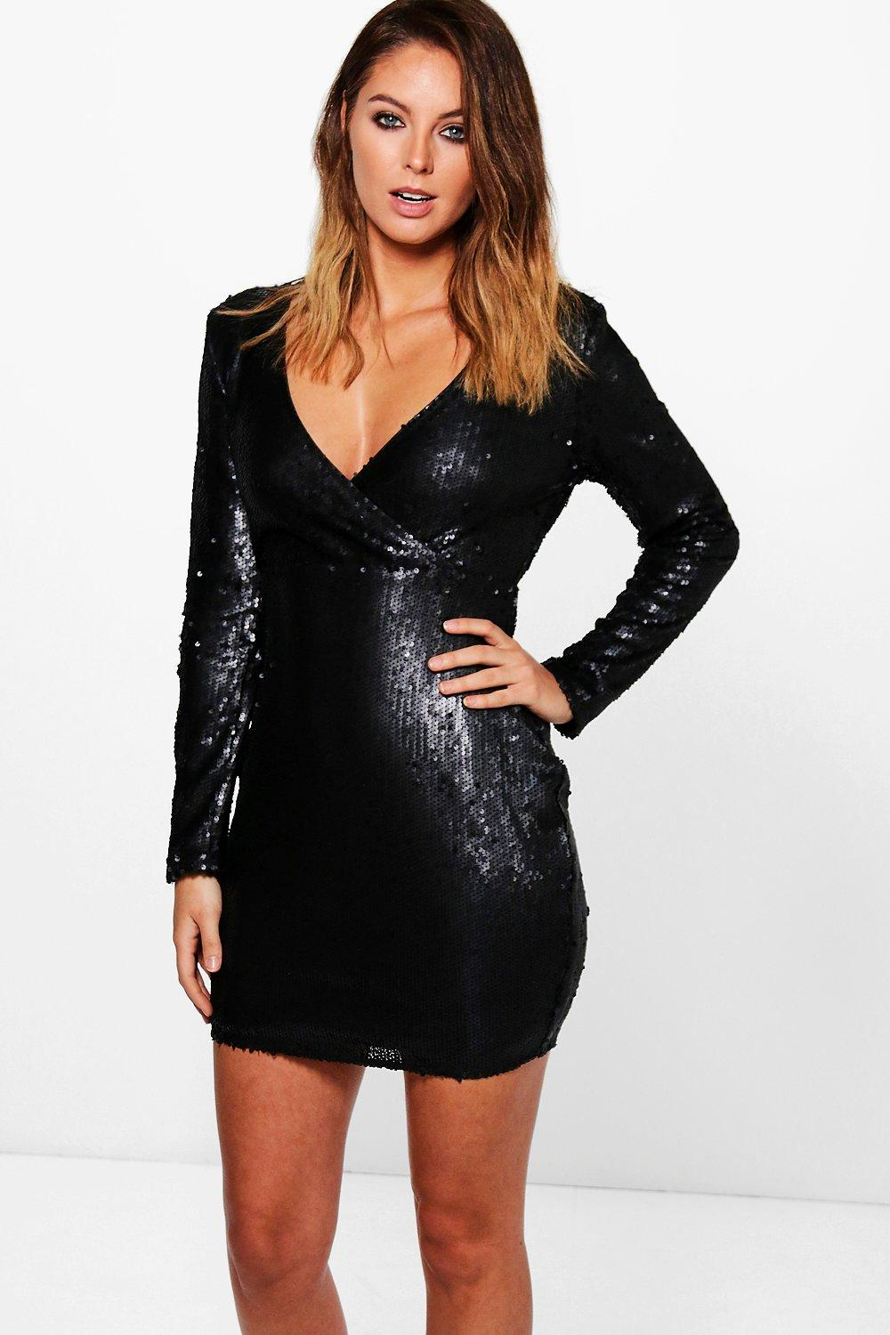 Boutique Rae Sequin Wrap Bodycon Dress