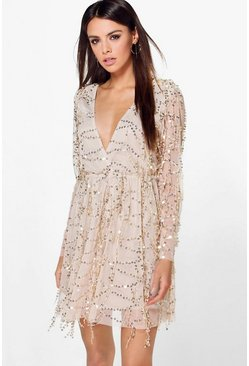 Boutique Dana Sequin Wrap Over Skater Dress