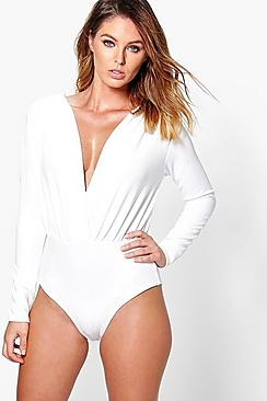 Mila Textured Deep Plunge Wrap Bodysuit