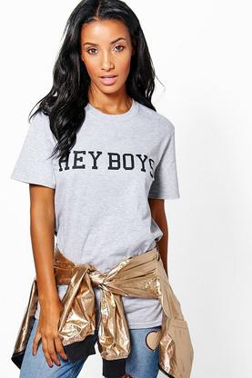 Eva Hey Boys Slogan T-Shirt