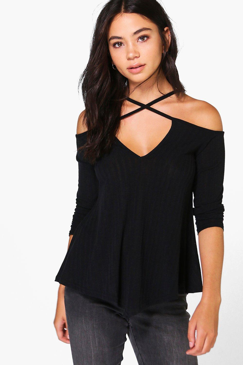 Sarah Strappy Cold Shoulder Ribbed T-Shirt