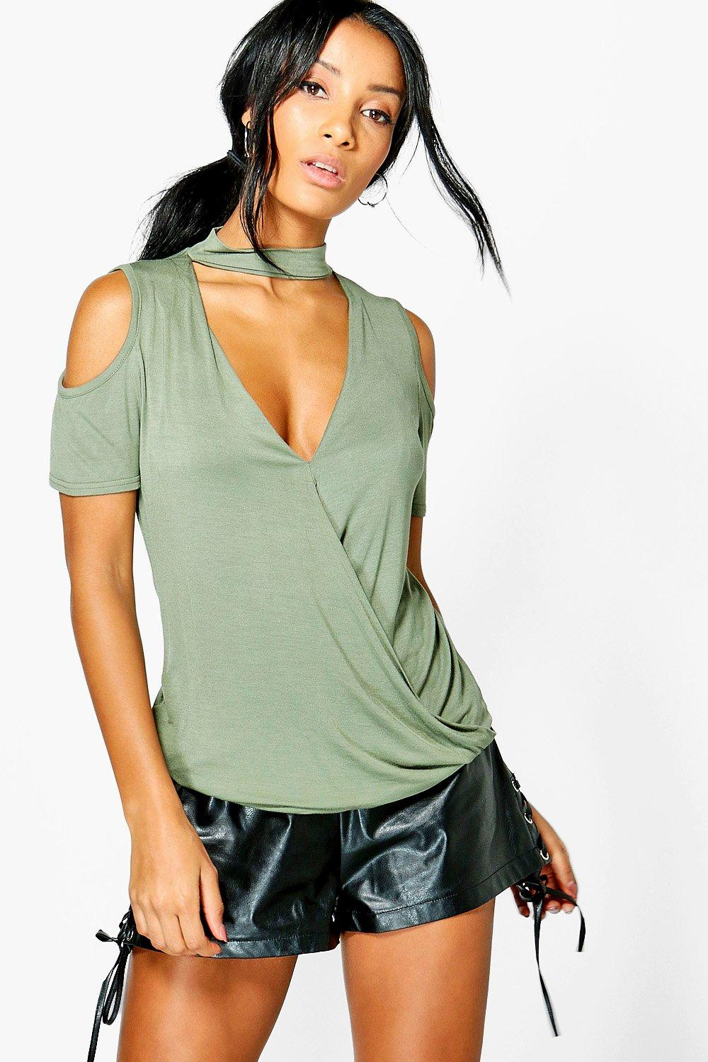 Kaylee Choker Detail Wrap Front Top
