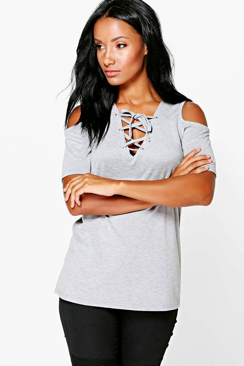 Isabel Lace Up Cold Shoulder T-Shirt