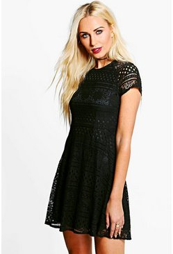 Boutique Gia Contrast Lace Cap Sleeve Skater Dress
