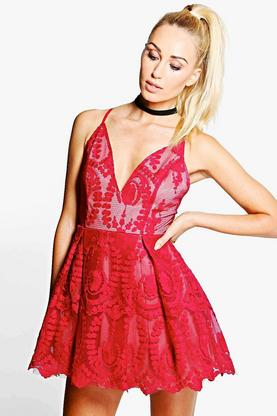 Boutique Sia Embroidered Mesh Strappy Skater Dress