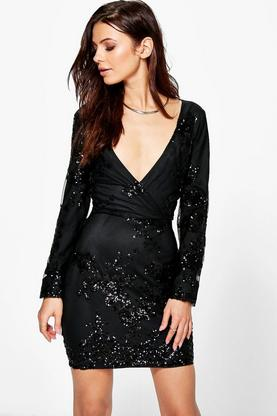 Boutique Tia Sequin And Mesh Wrap Bodycon Dress