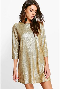 Boutique Lucie Sequin 3/4 Sleeve Shift Dress