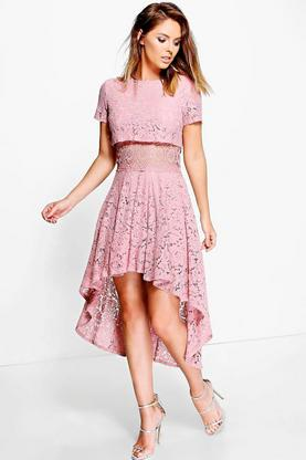Boutique Aliza Lace Double Layer Skater Dress