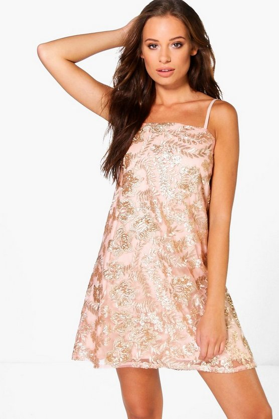 Boutique Janey Sequin Embroidered Shift Dress