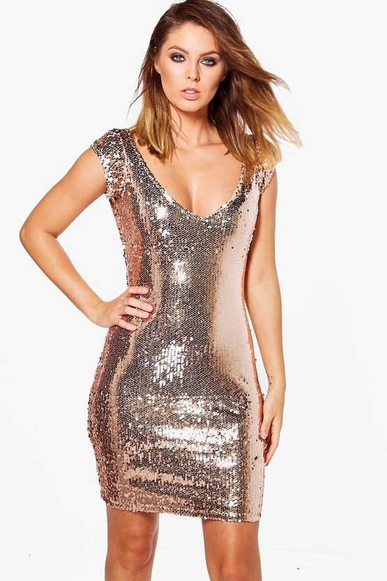 Boutique Jessica Sequin Cap Sleeve Bodycon Dress