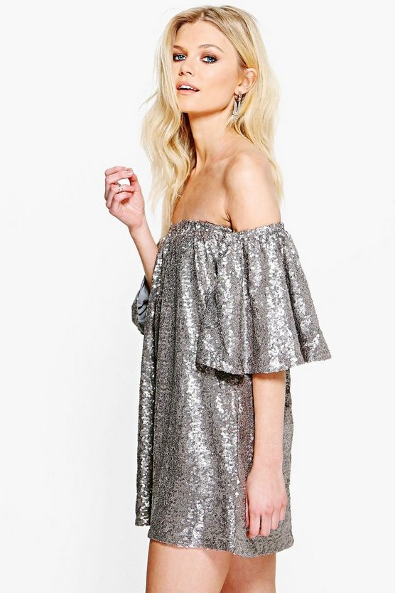 Petite Boutique Ria Sequin Off The Shoulder Dress