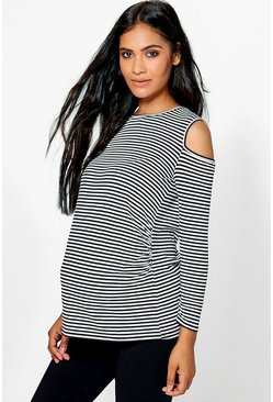 Maternity Olivia Stripe Open Shoulder Tee
