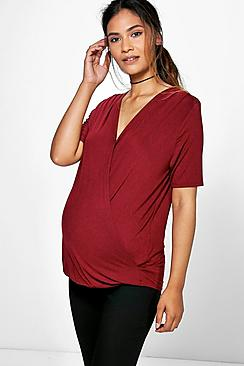 Maternity Amelia Wrap Long Sleeve Top