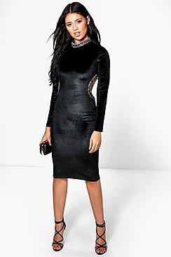 Ma Embellished Collar & Cut Out Detail Midi Dres