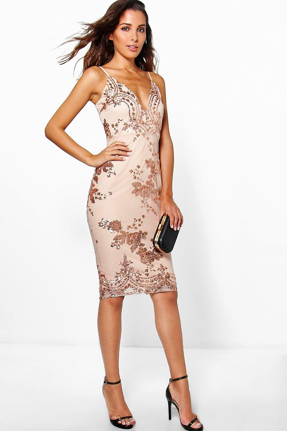 Ria Sequin & Mesh Border Detail Strappy Midi Dress