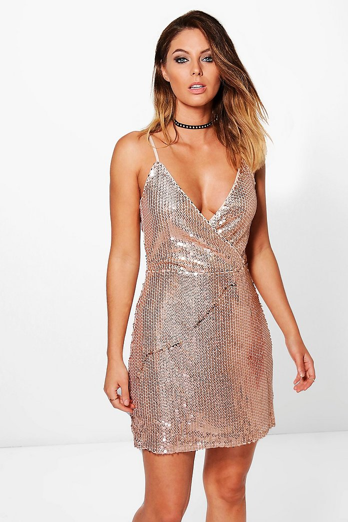 Lola Sequin Wrap Top Strappy Bodycon Dress