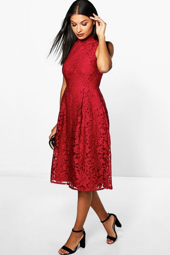 Elle Embroidered High Neck Midi Skater Dress