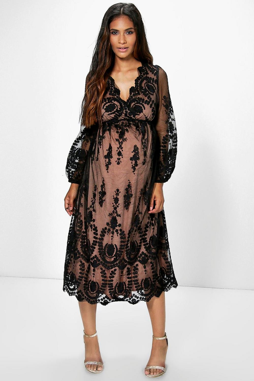 Maternity Sophia Embroidered Lace Plunge Midi Dress