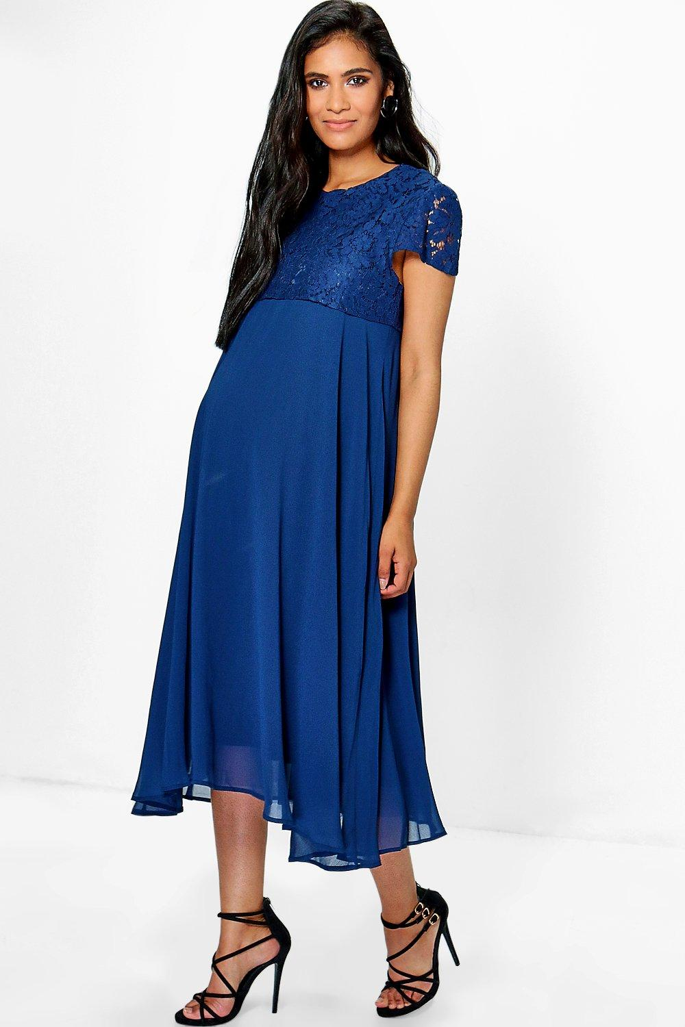 Maternity Megan Lace Overlay Chiffon Skater Dress
