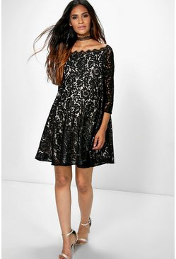 Maternity Amera Eyelash Lace Off The Shoulder Skater Dress