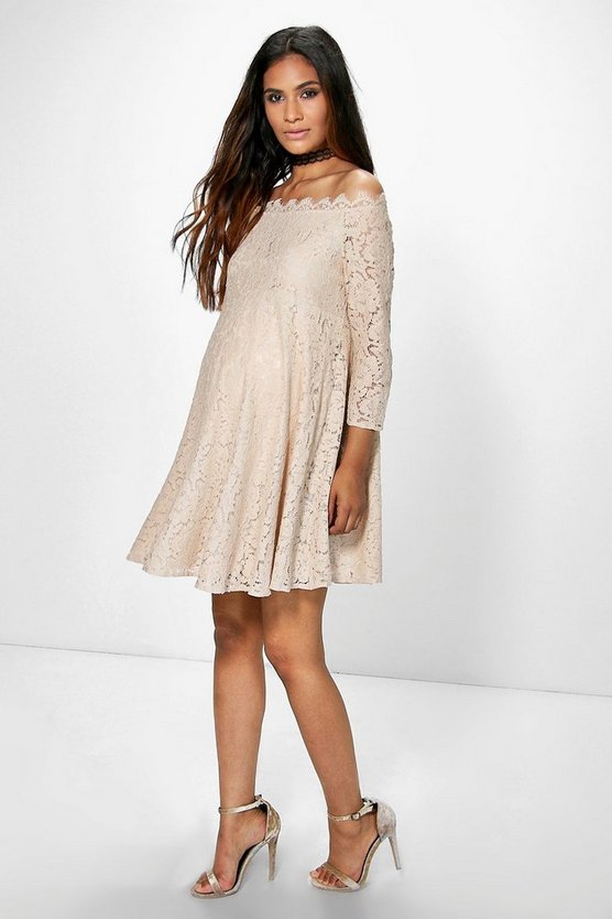 Maternity Amera Eyelash Lace Skater Dress