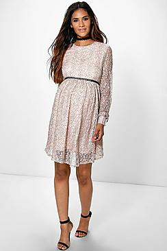 Maternity Evie Corded Ladder Detail Skater Dress