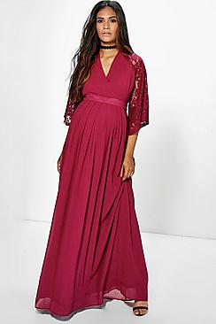 Maternity Holly Chiffon Dress With Kimono Lace Sleeve Dress