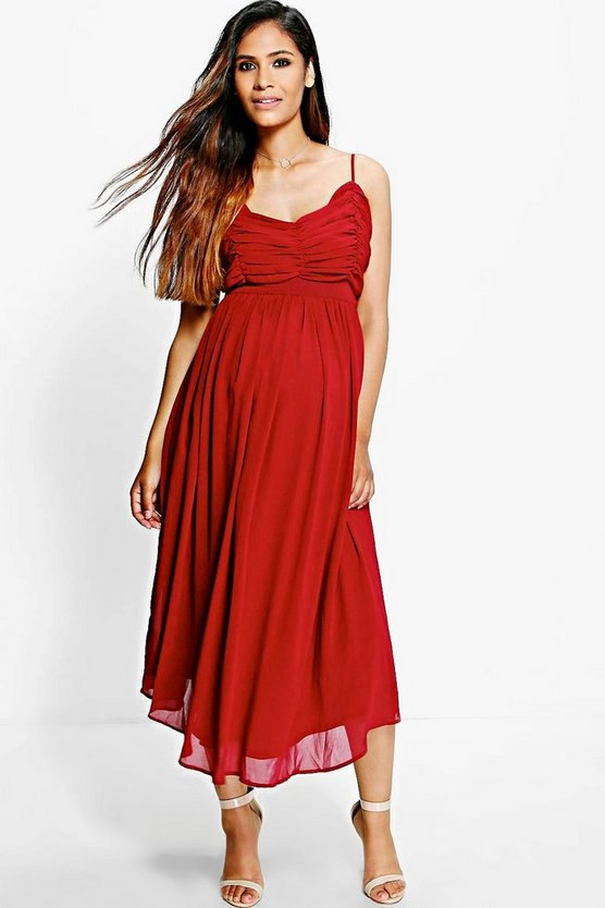 Maternity Amy Chiffon Pleated Midi Skater Dress