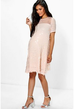Maternity Hollie Sequin and Mesh Cap Sleeve Swing Dress