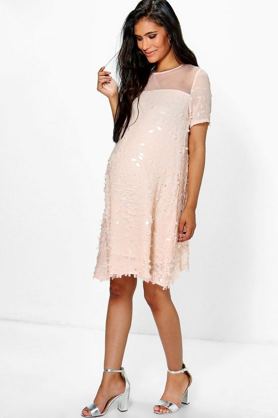 Maternity Holly Sequin & Mesh Short Sleeve Dress